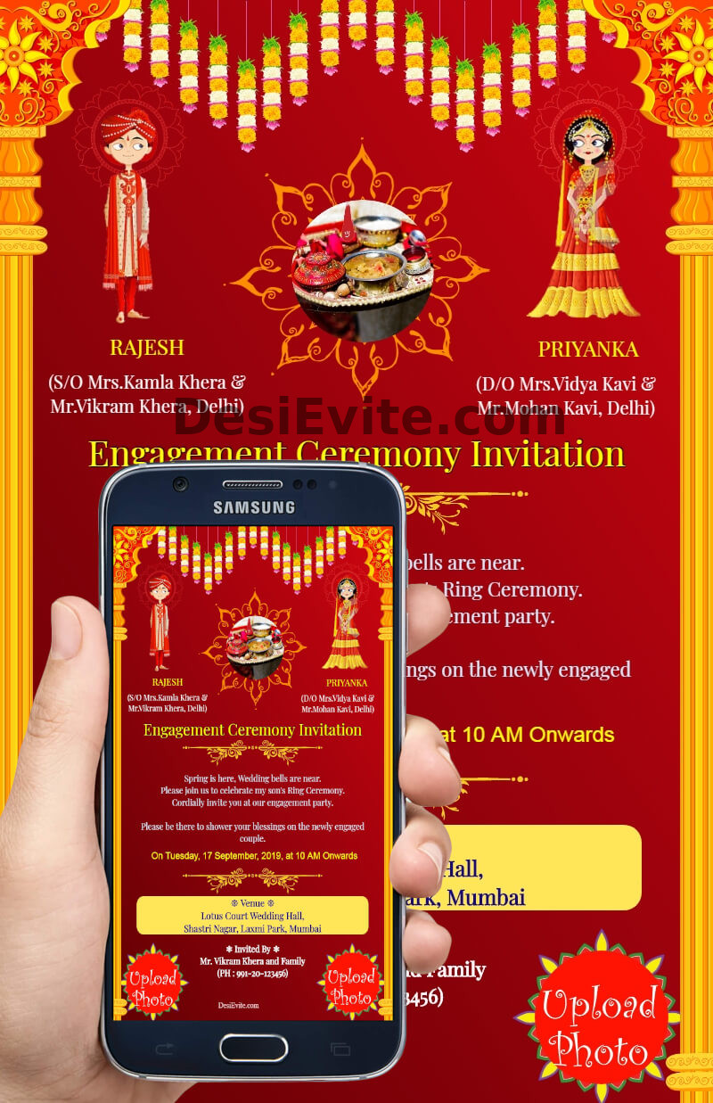 Indian traditional engagement invitation card design