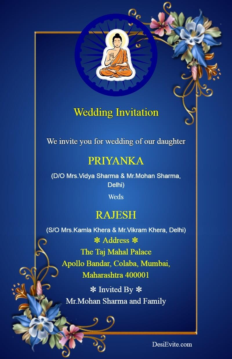 Free Buddhist Wedding Card Invitation Card Maker Online