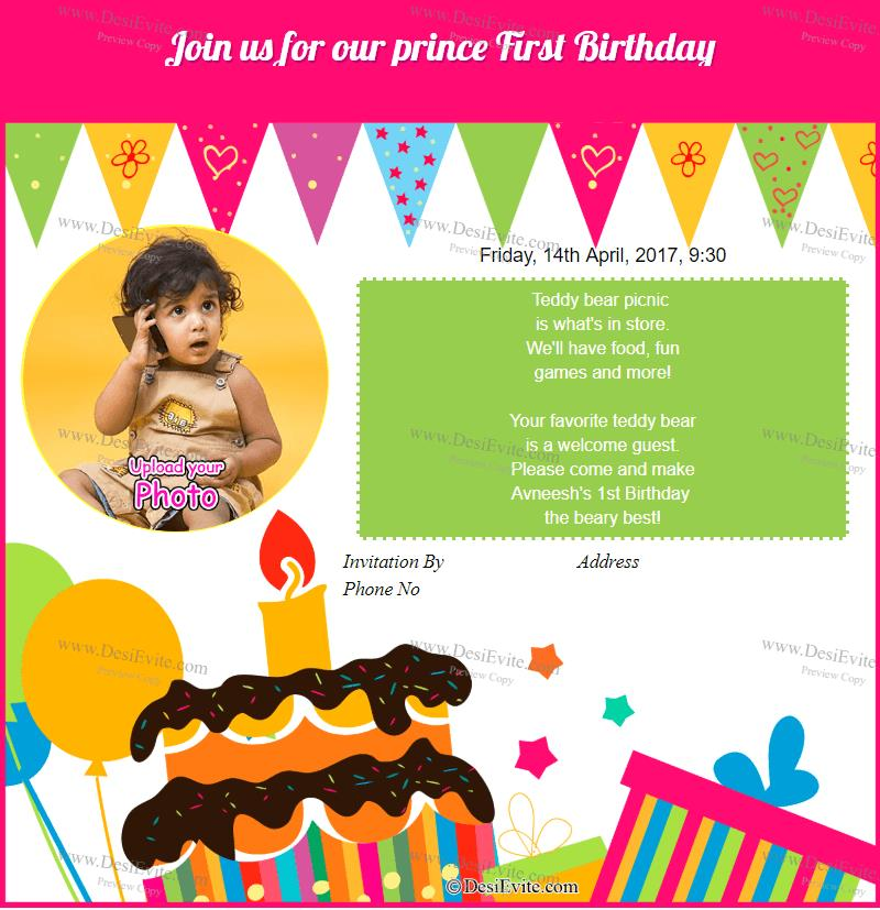 Free 1st Birthday Invitation Card Online Invitations