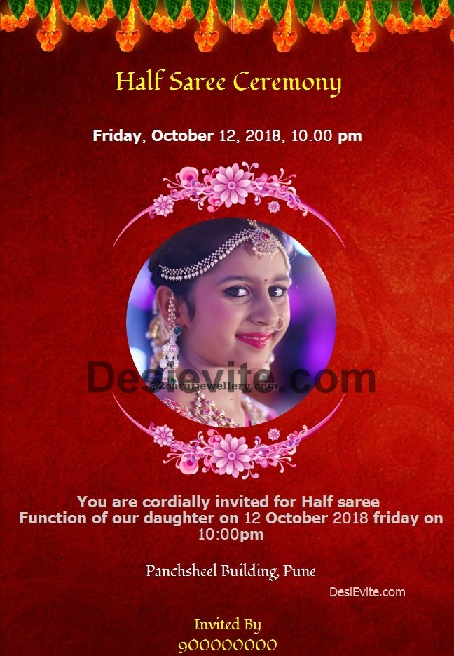 Free English Half Saree Function Invitation Card Online Invitations