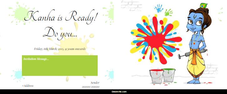 Free holi festivals invitation card online invitations stopboris Image collections
