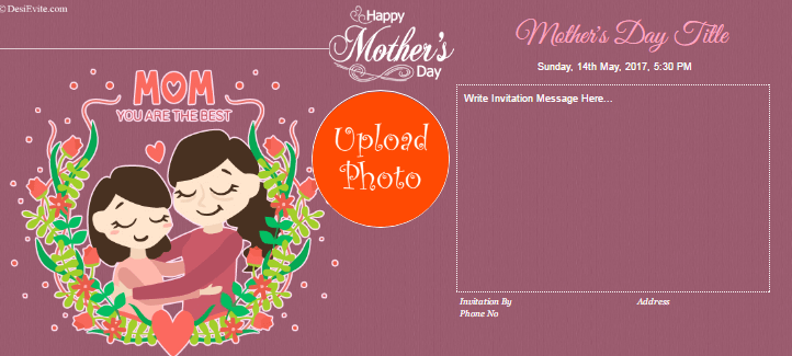 Free English Mother Day Invitation Card & Online Invitations