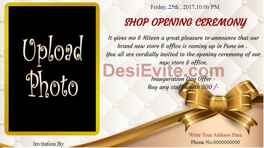 Desievite Com Shop Opening Office Inauguration Invitation Wording