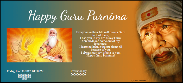 Free Guru Purnima Invitation Card Online Invitations In Hindi