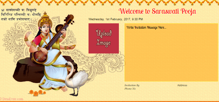 Free Saraswati Puja Invitation Card Online Invitations