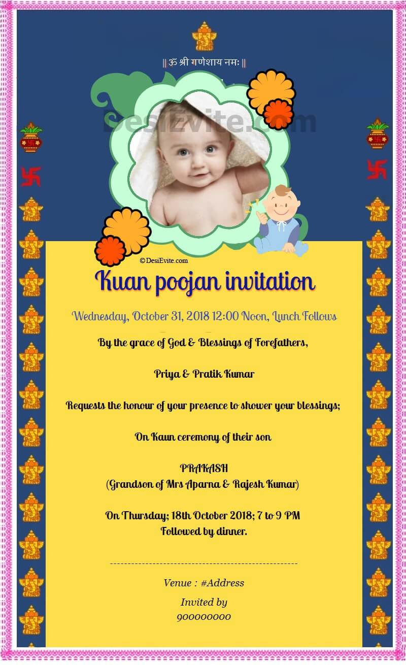 Kuan poojan invitation card format english