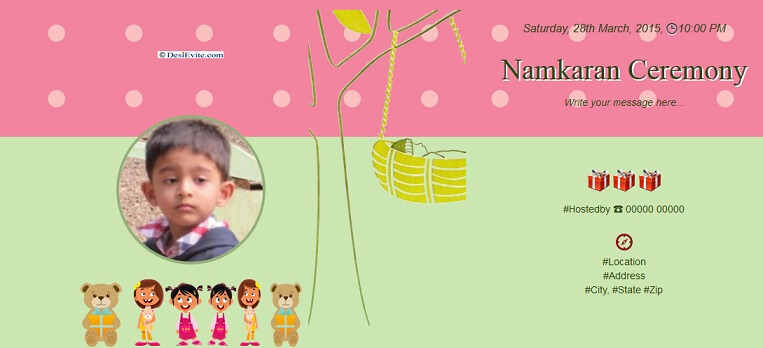 Namkaran invitation wording naming ceremony invitation card template free download stopboris Image collections