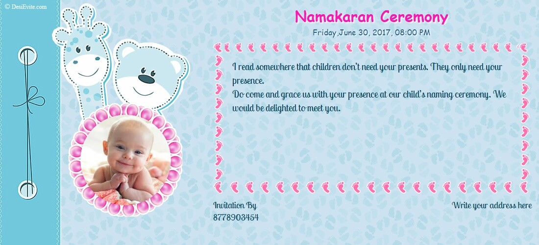 Namkaran invitation wording create naming ceremony card with desievite stopboris Image collections