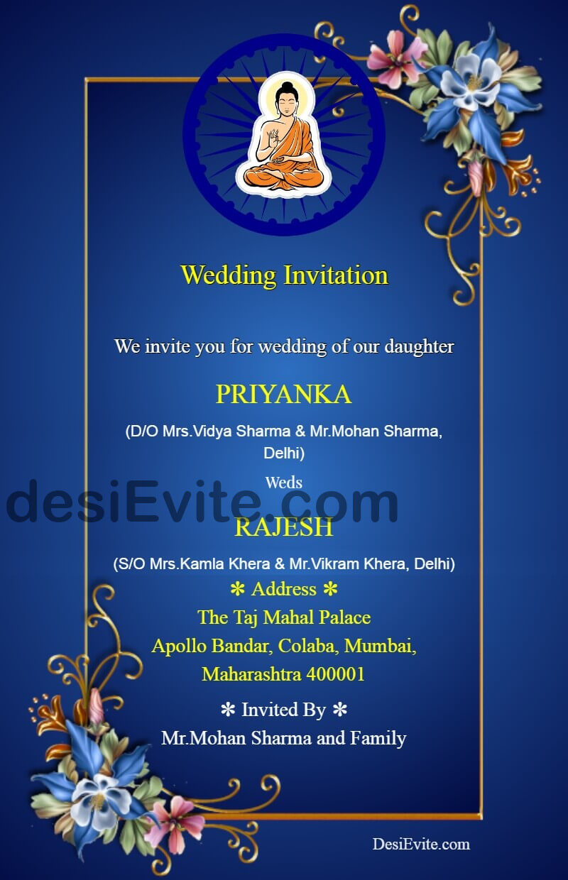 buddhist wedding card format matter english
