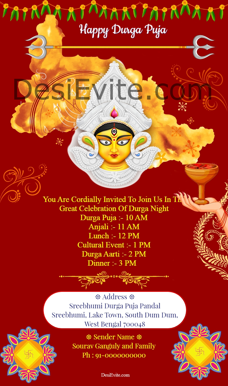 durga puja invitation card format english