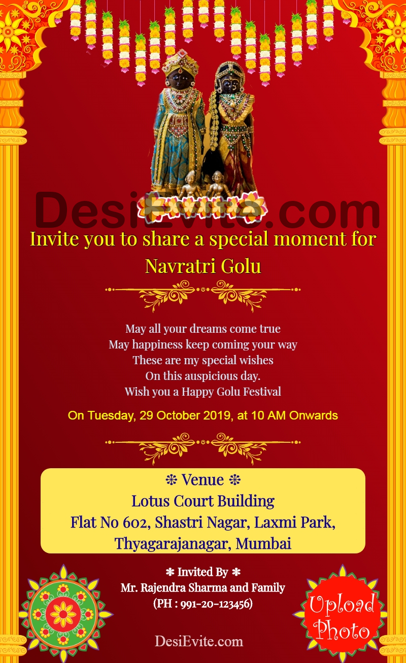 golu festival invitation card format english