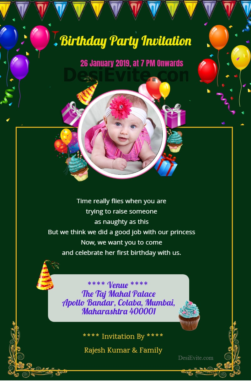 1st Birthday Invitation Card Balloon Cake template 107