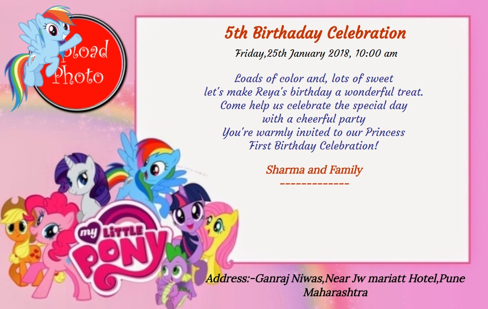 5 birthday invitation pony 130