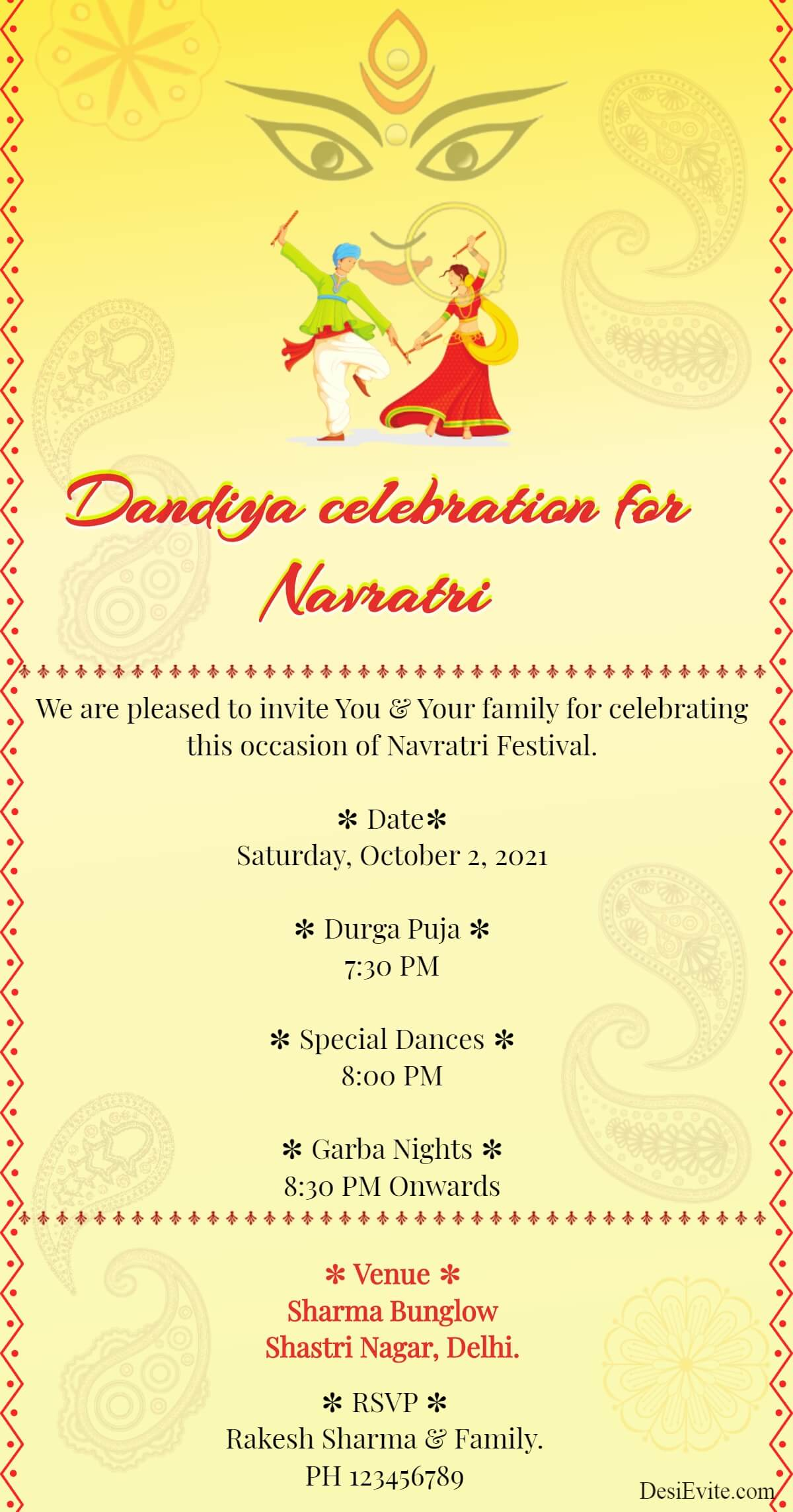 Dandiya celebration for Navratri Invitation 149 85
