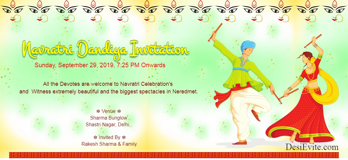 Navratri Dandiya Invitation 100 161