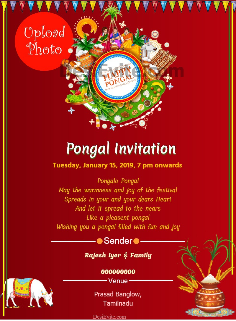 Pongal Invitation Card With Photo 24