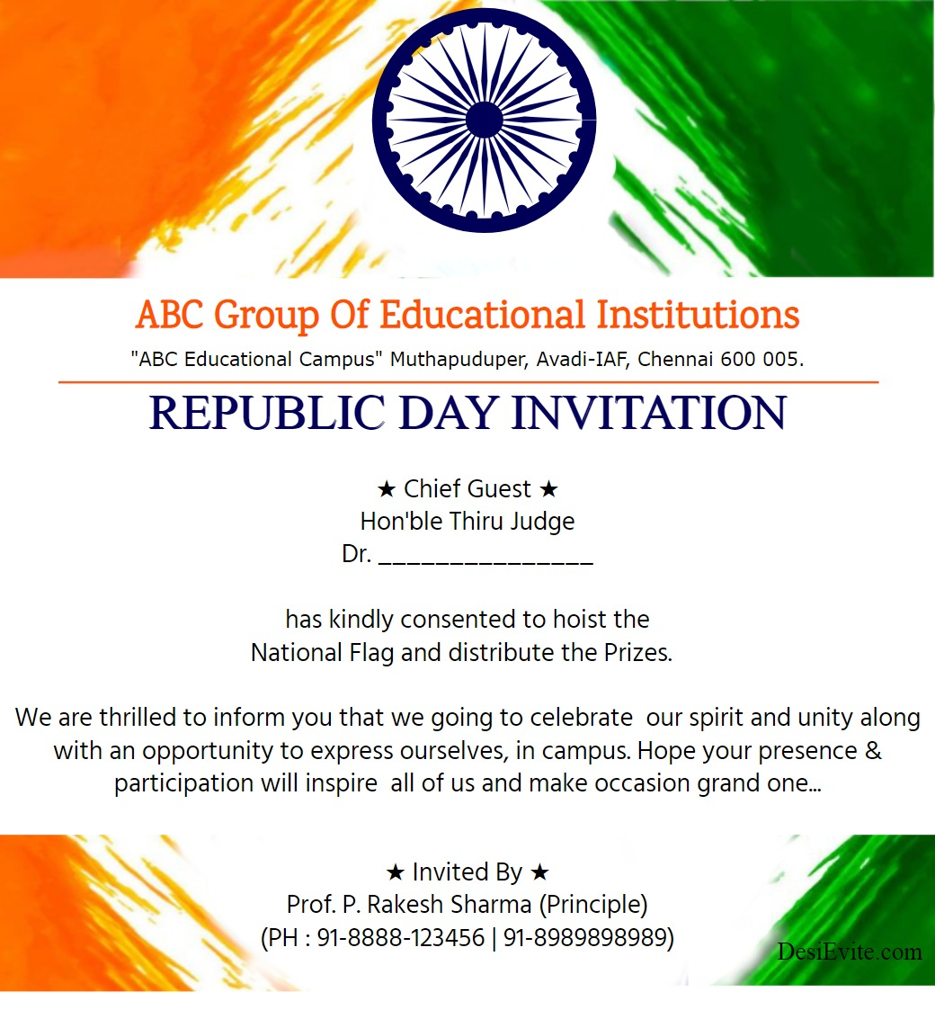 Republic Day Invitation Card Flag Template2 77 201