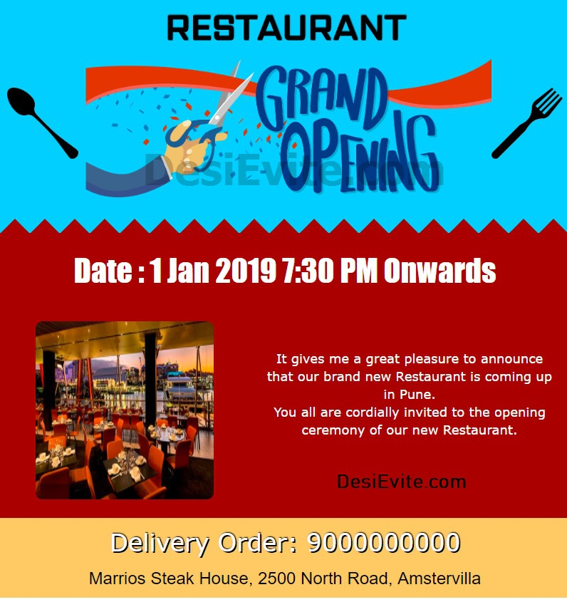 Restaurant Opening Invitation Card 73