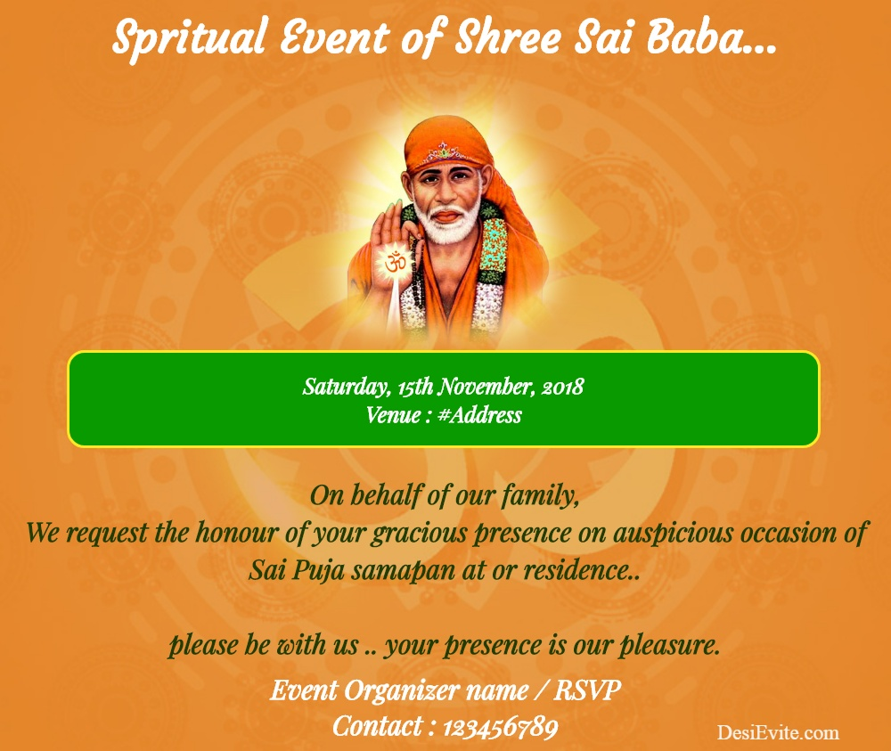 Spiritual event of Sai Baba invitation card 143