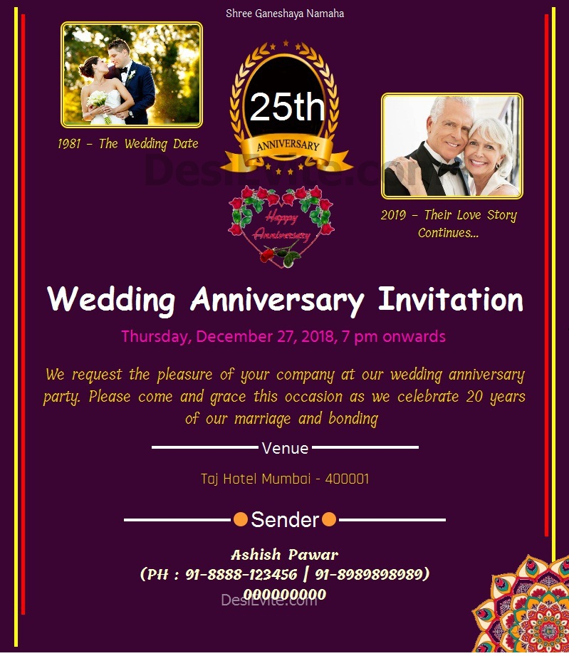 Traditional 25th Wedding Anniversary Card Whatsapp 115