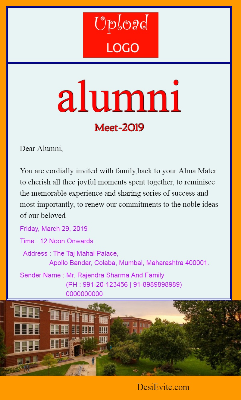 alumni meet invitation card with logo and photo template 26