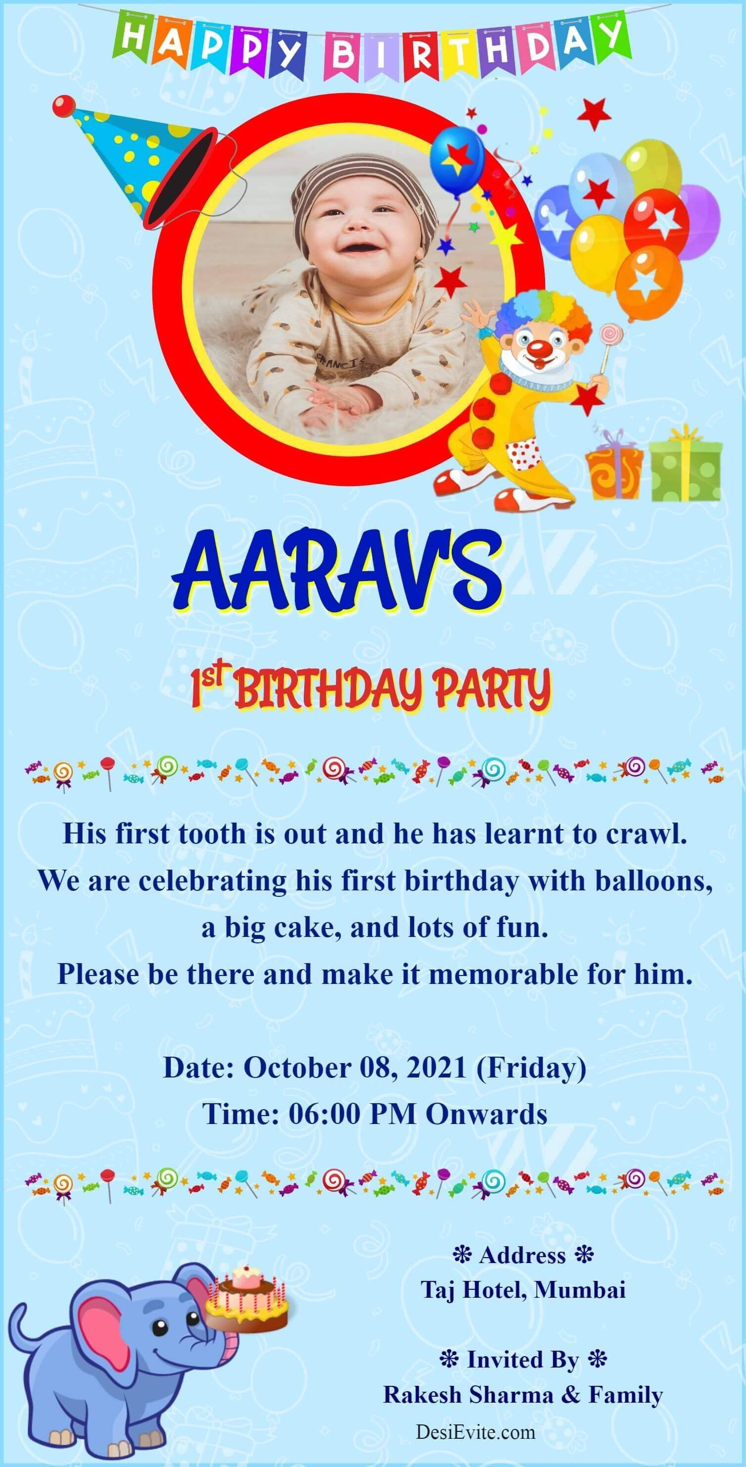 baby boy birthday invitation card with boy photo template 57