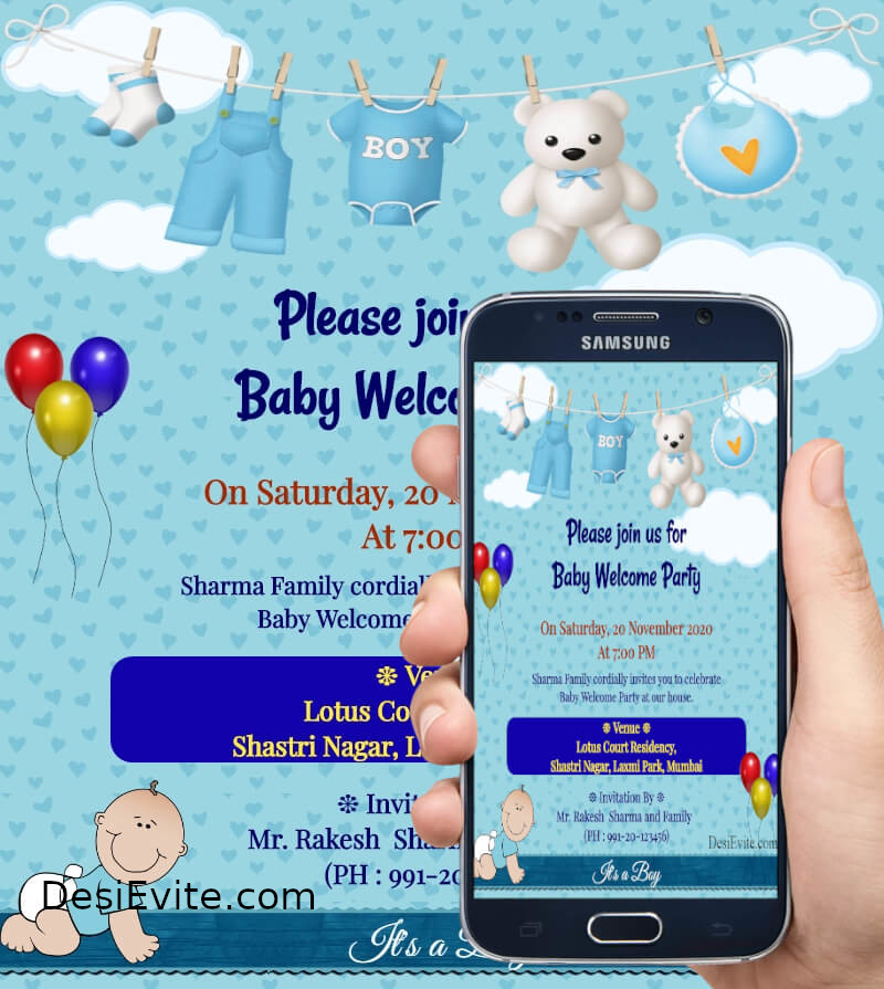baby boy welcome party card template 164