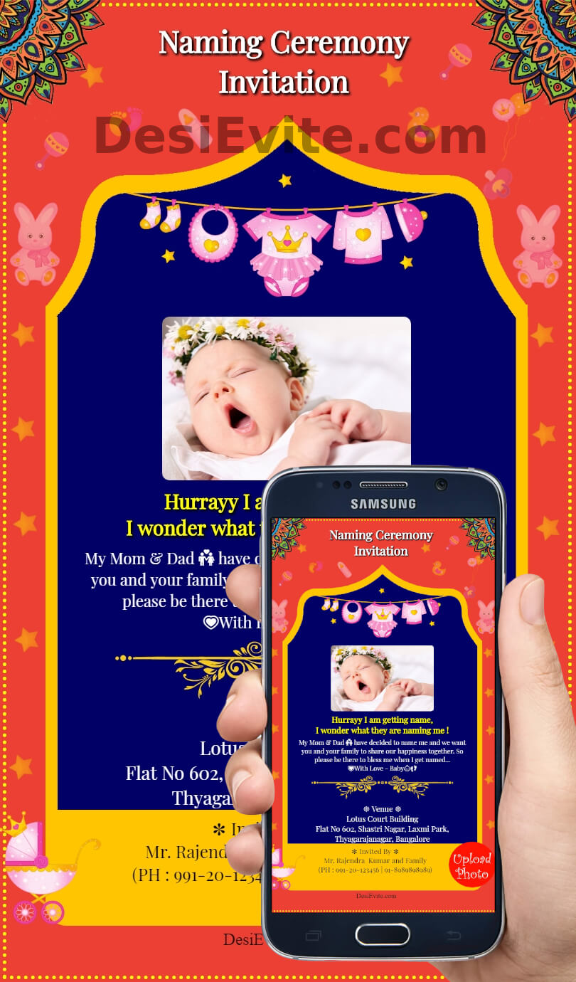 baby girl naming ceremony card english template 96
