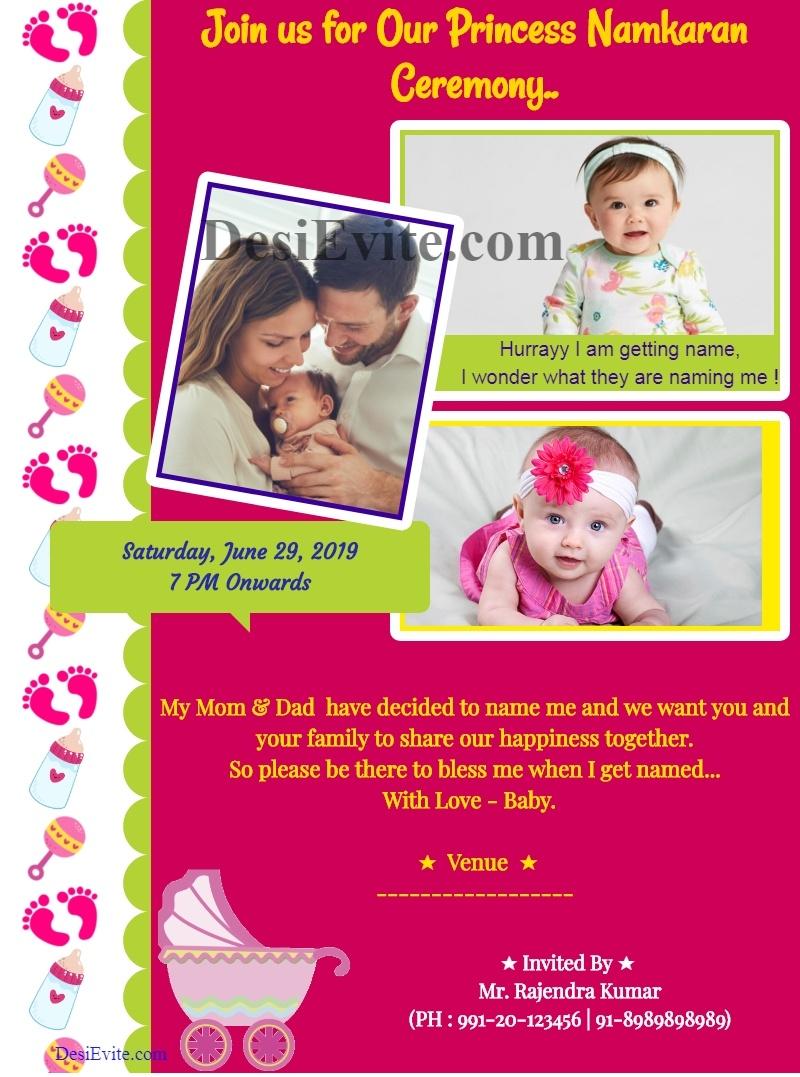 baby girl naming ceremony invitation card with three photo 121
