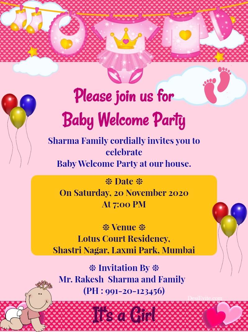 baby girl welcome party card template 57