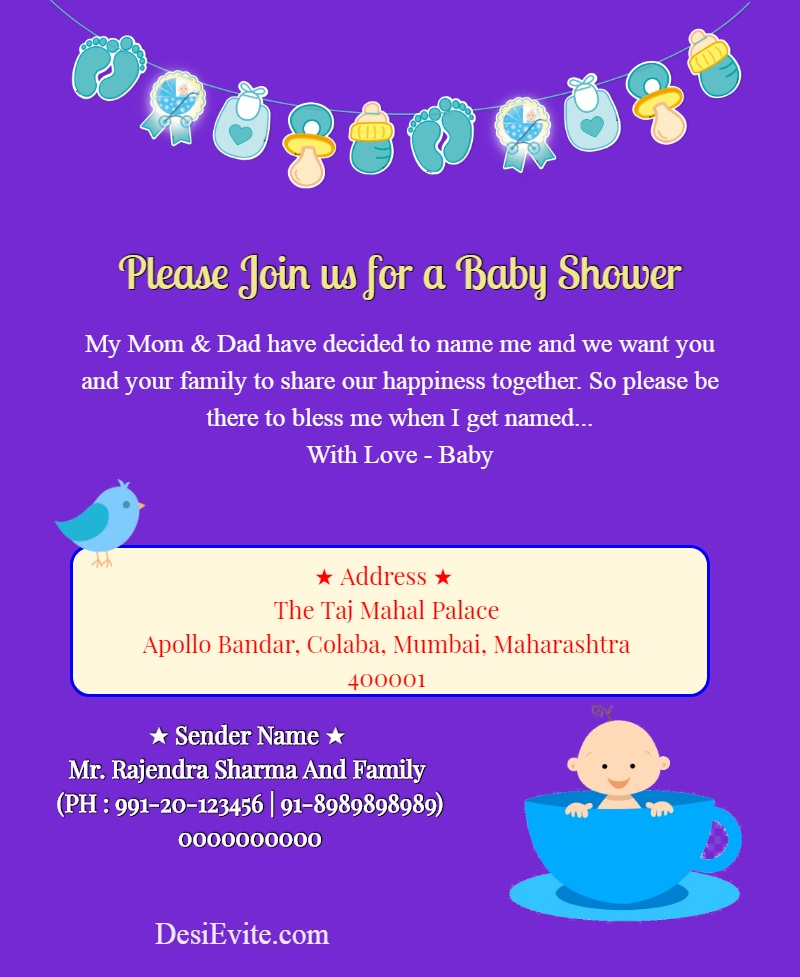 baby shower invitation card without photo template 52