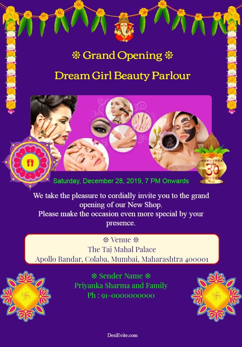 beauty parlour opening invitation card template 168