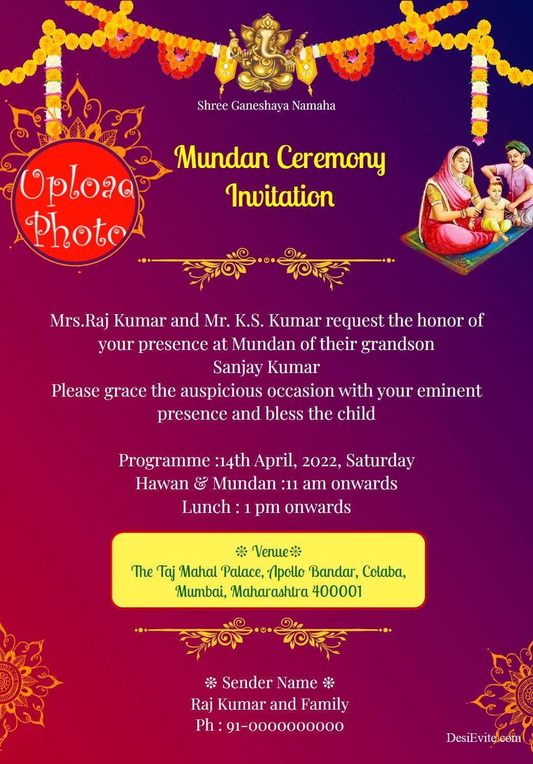 customize mundan invitation card template 126