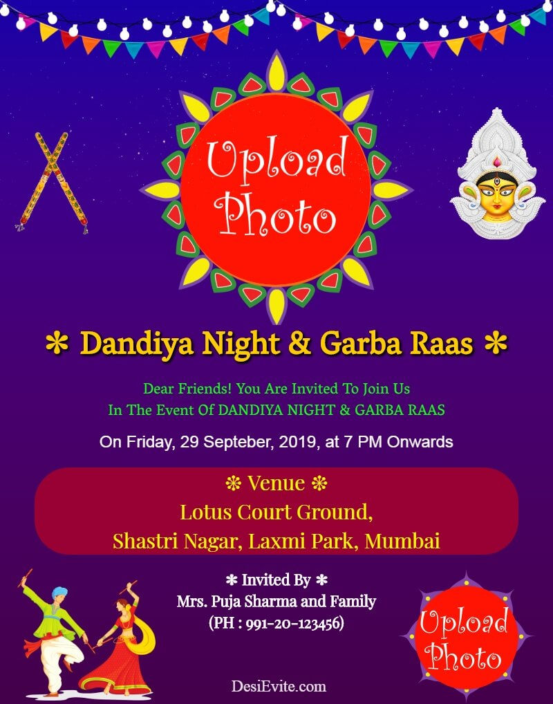 dandiya garba night event card template 120