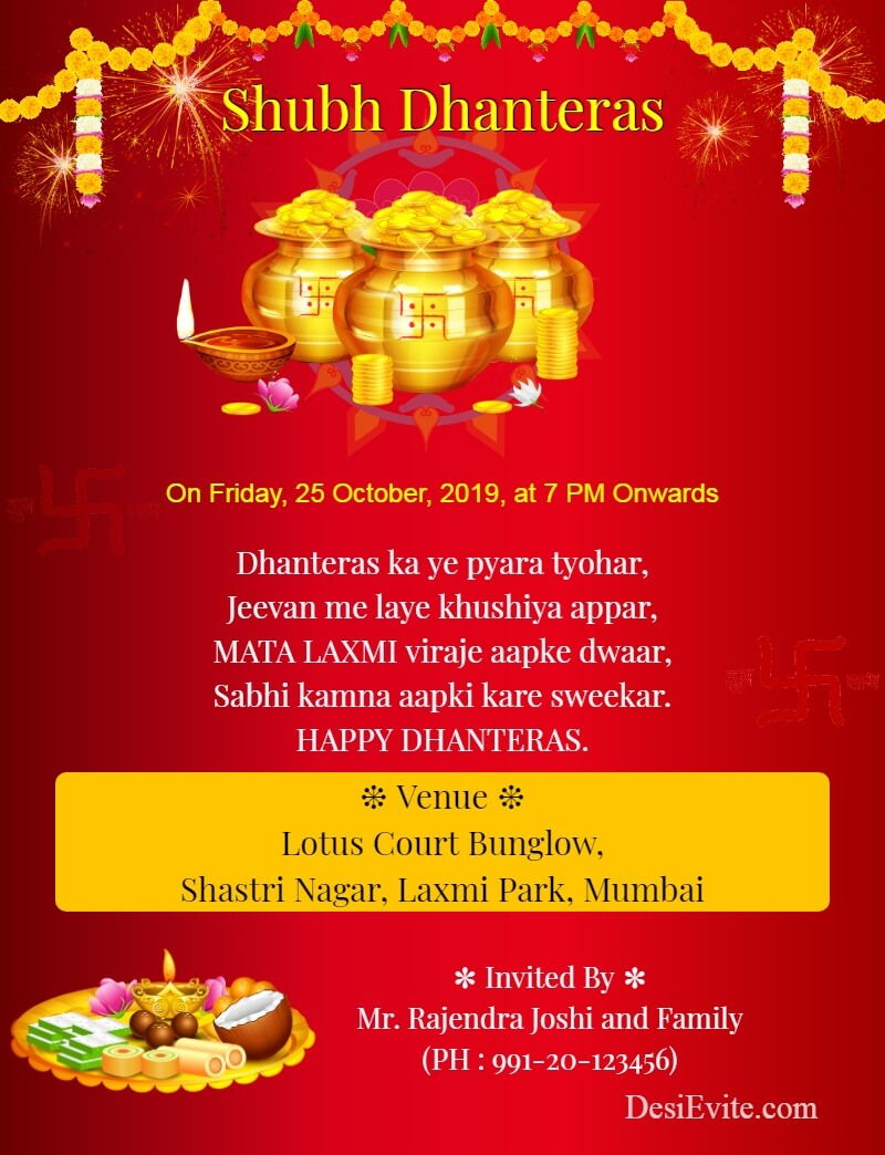 dhanteras festival invitation card template 125