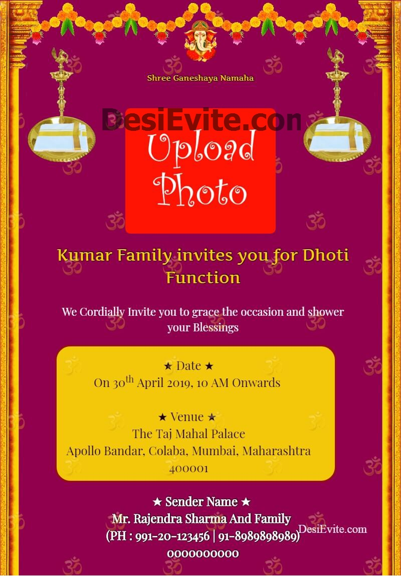 dhoti function invitation card template 139