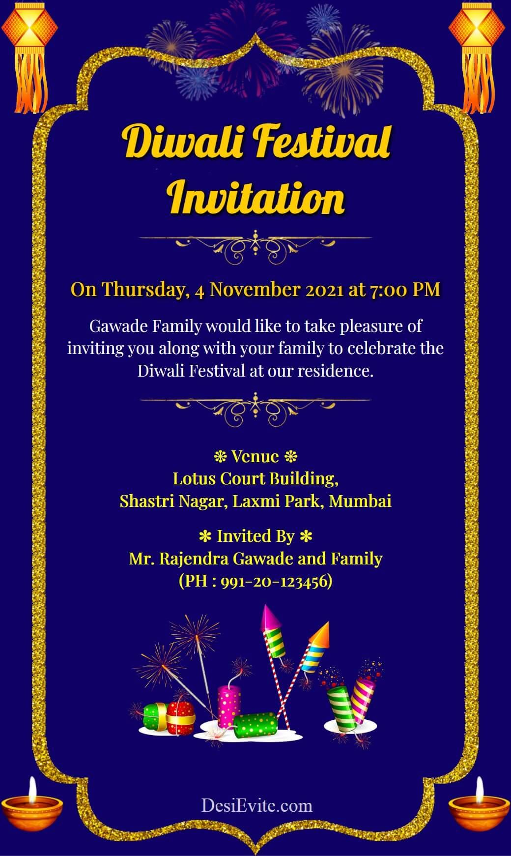 dipawali invitation ecard template 114