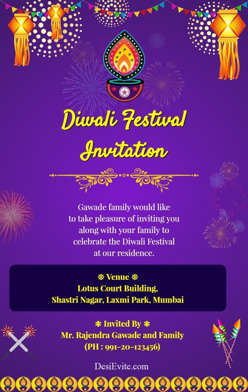 diwali invitation card with panti and kandil template 121