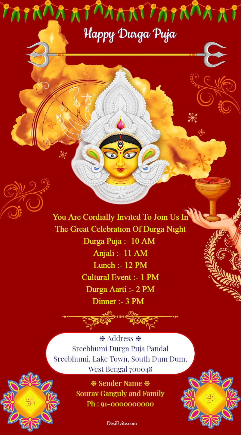 durga puja invitation card bengali theme template 138