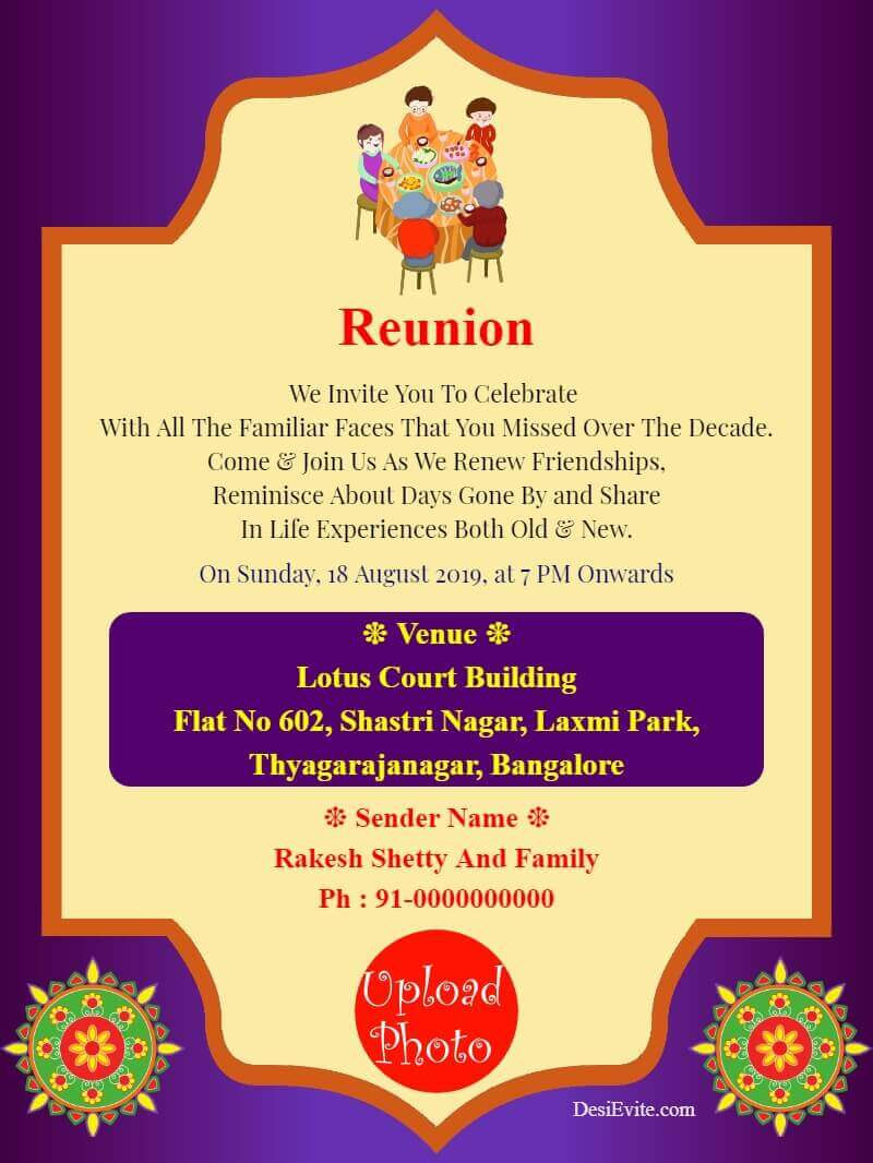 family reunion invitation card with photo template 166