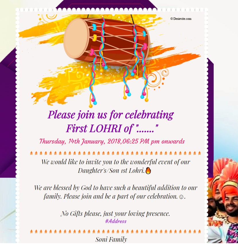 first Lohri invitation card 53