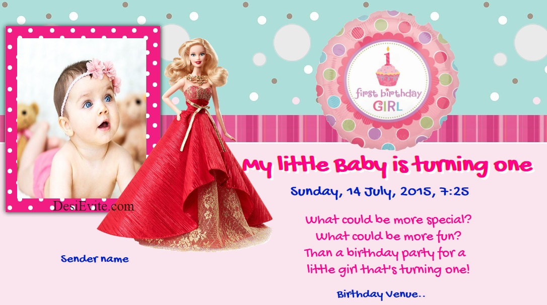 first birthday baby girl invitation ecard whatsapp 149