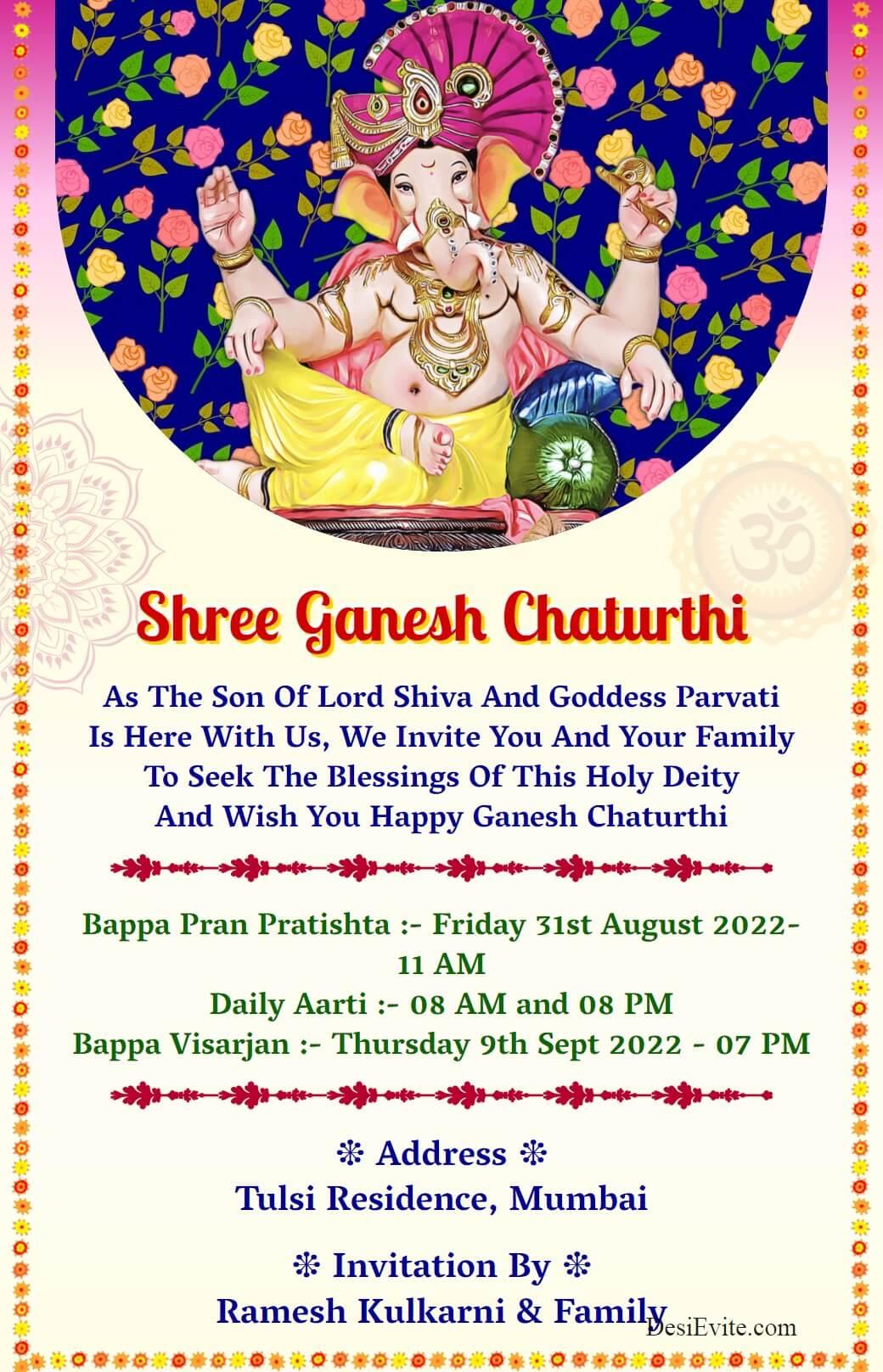 Ganesh chaturthi 2021 card fresh pleasant theme