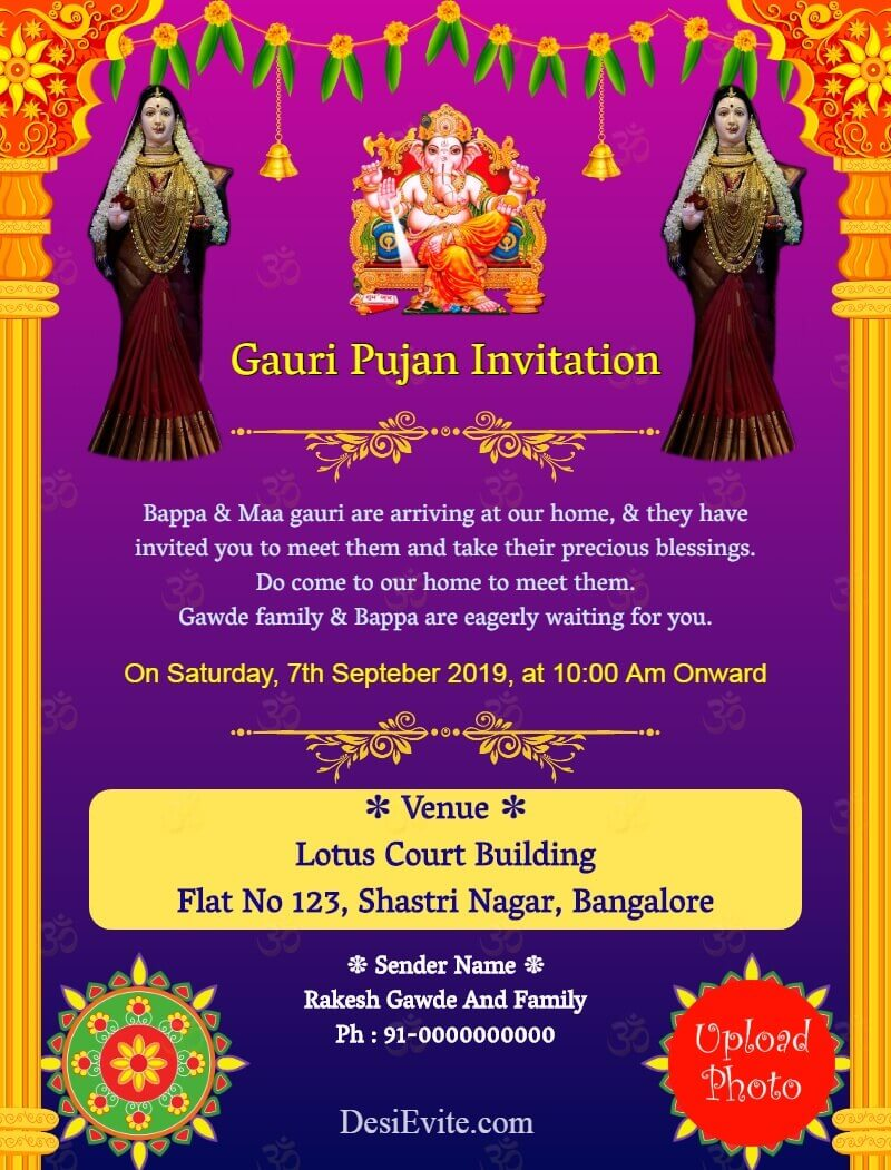 gauri ganpati invitation card template 135