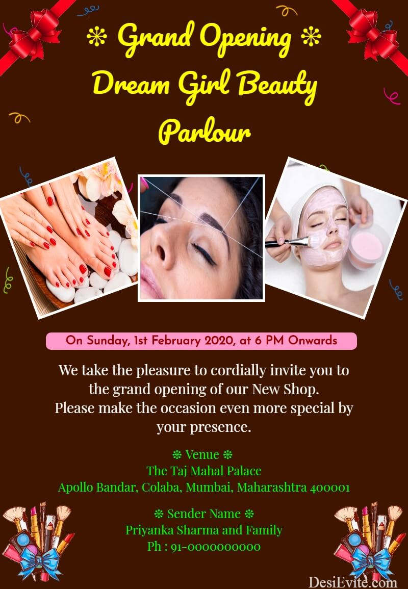 grand opening beauty parlour invitation card template 146