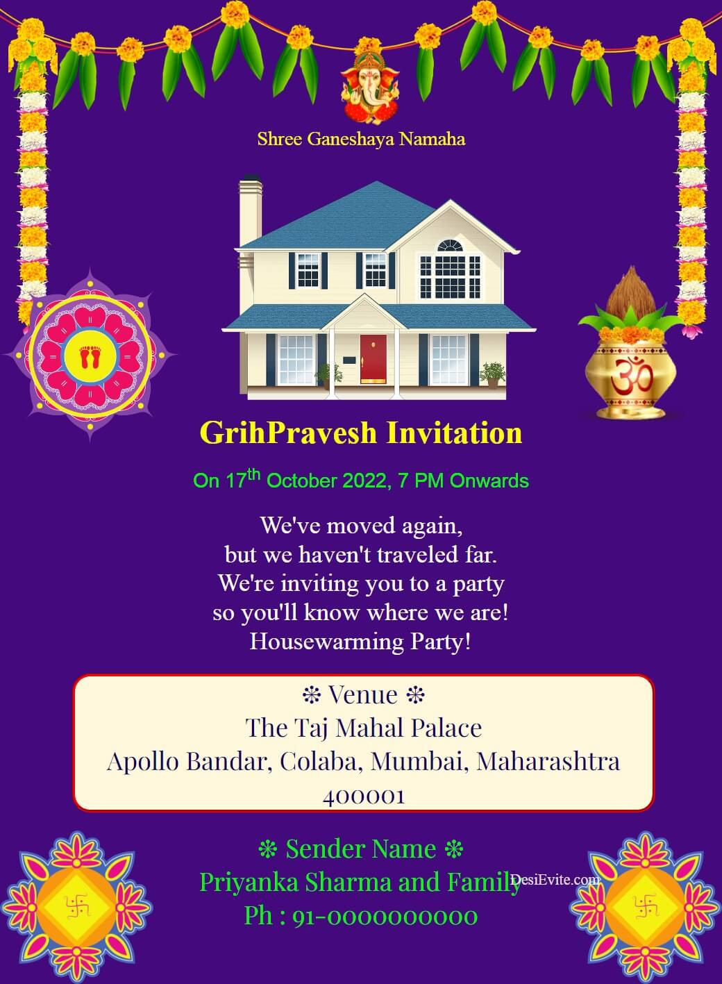 gruhpravesham invitation card with rangoli template 67