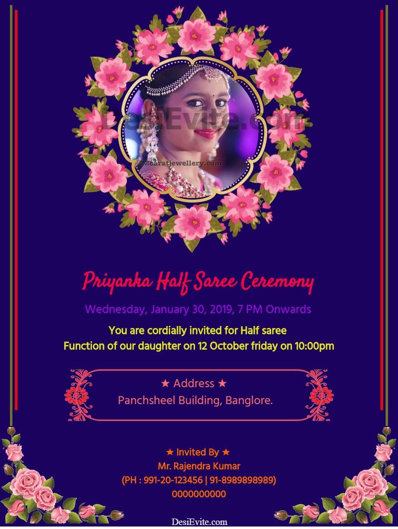 half saree invitation card floral design template 46