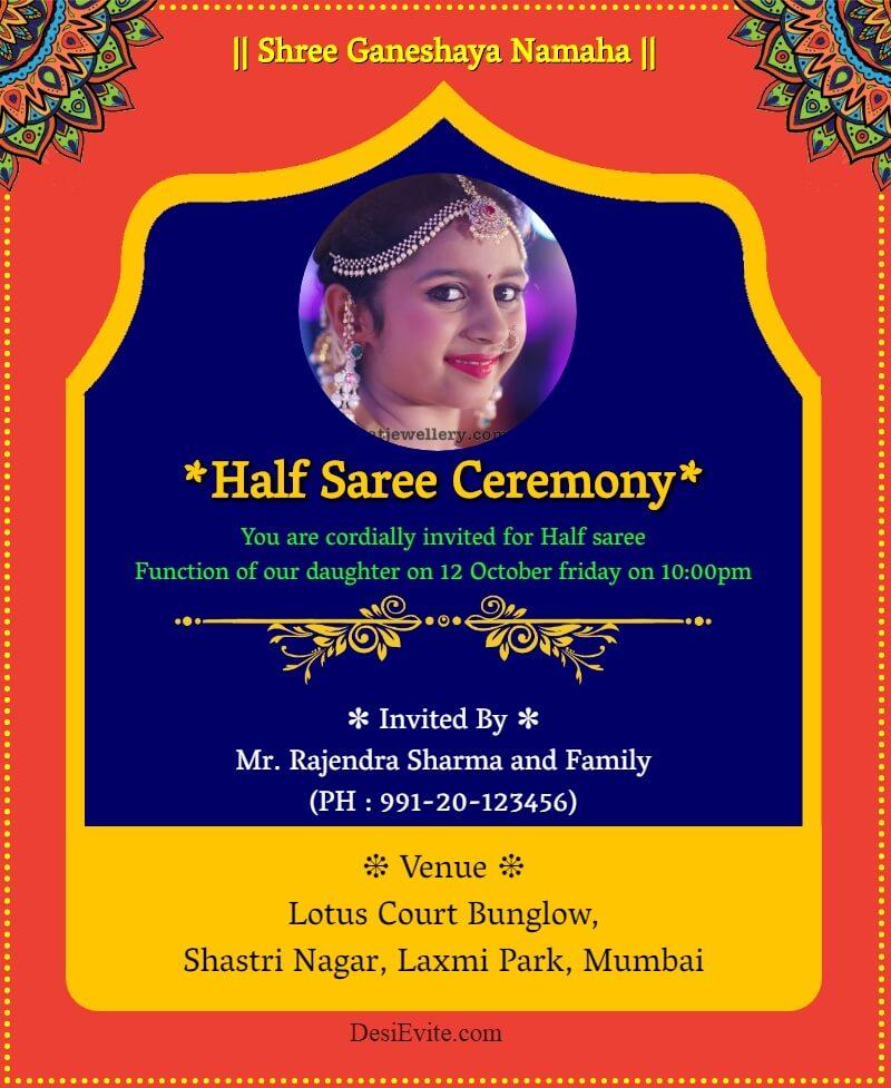 half saree ornamental invitation card template 28