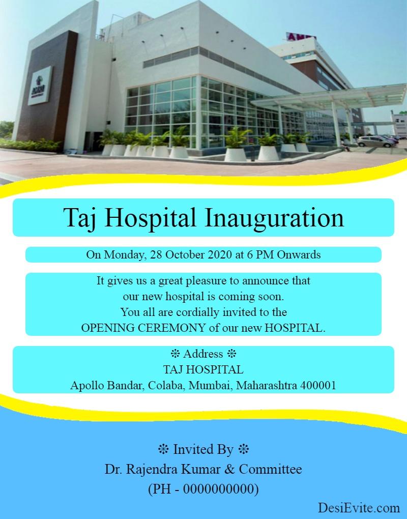hospital inauguration invitation card template 99