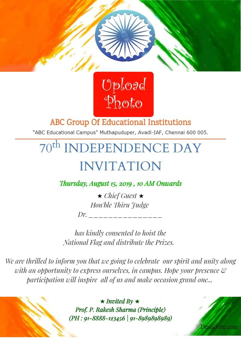 independence day invitation card with photo template 54